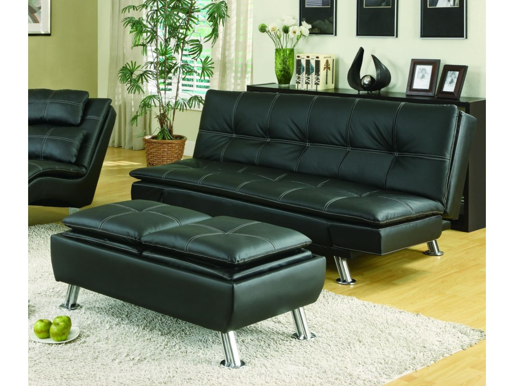 Sofa Beds and Futons Black Sofa Bed & Ottoman by Coaster at Sam Levitz  Furniture