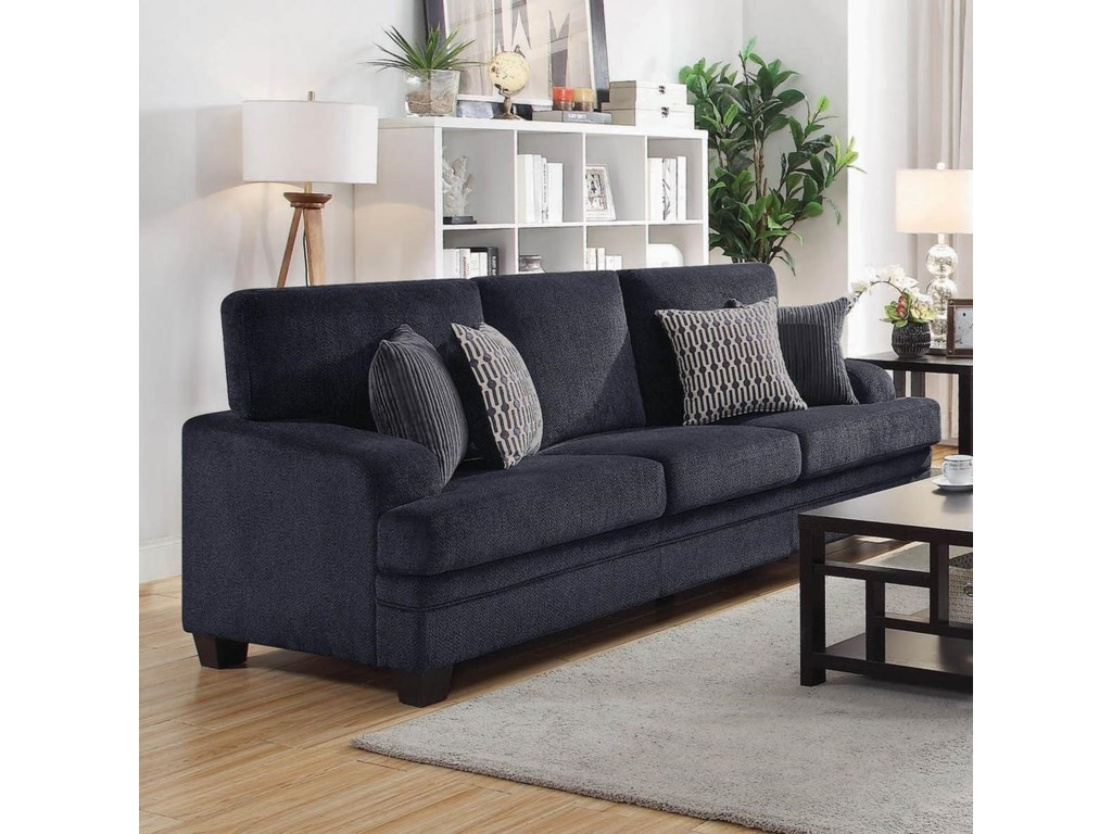 Coaster Stewart Casual Sofa With Complementing Toss Pillows
