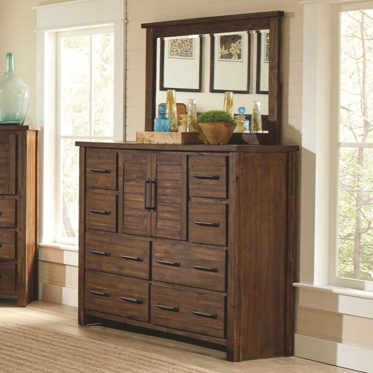 Tall Dresser with 2 Doors & Mirror