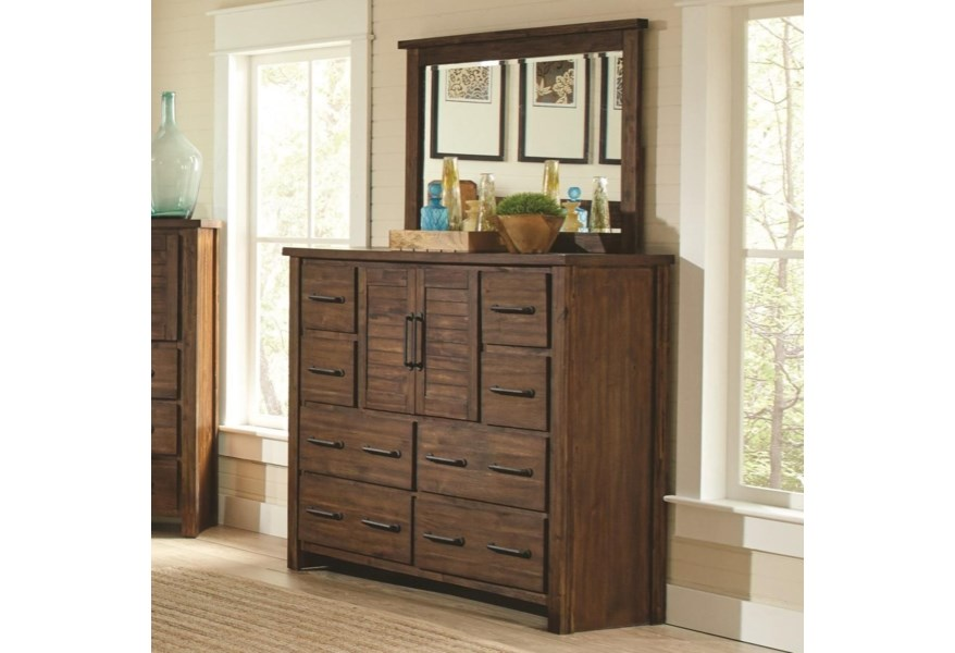 Sutter Creek Tall Dresser with 2 Doors & Mirror by Coaster at Dream Home  Interiors