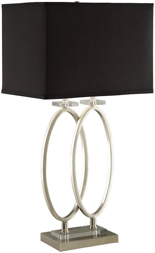 Coaster table lamps brushed nickel finish metal table lamp with black shade