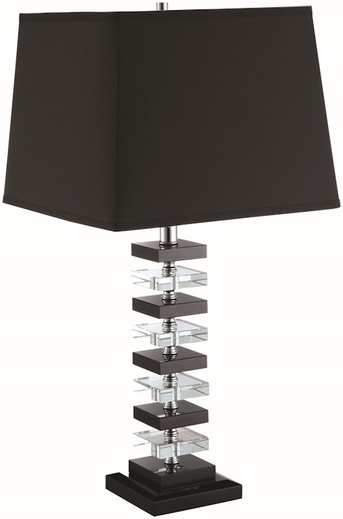 Coaster Table Lamps Contemporary Black And White Table Lamp With  Crystal Accents