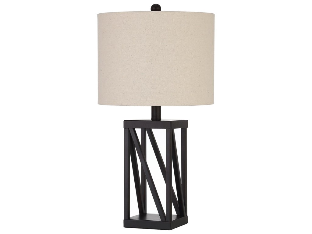Table lamps table lamp with geometric base and drum shade by coaster