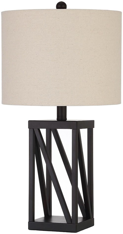 Coaster table lamps table lamp with geometric base and drum shade