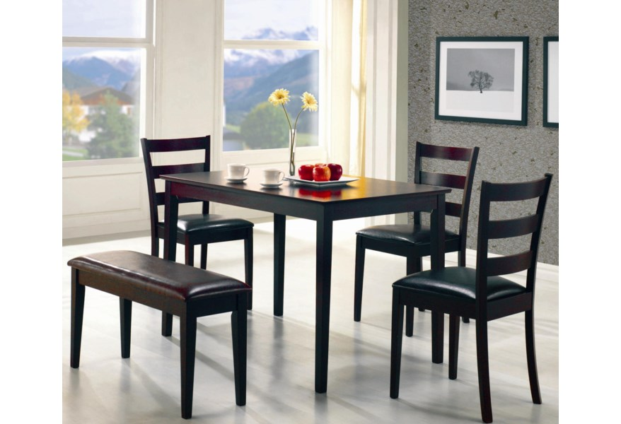 Super Taraval 5 Piece Dining Set With Bench By Coaster At Dunk Bright Furniture Onthecornerstone Fun Painted Chair Ideas Images Onthecornerstoneorg