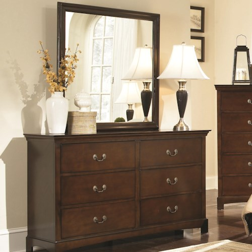 Coaster Tatiana Transitional Six Drawer Dresser and Mirror Combination