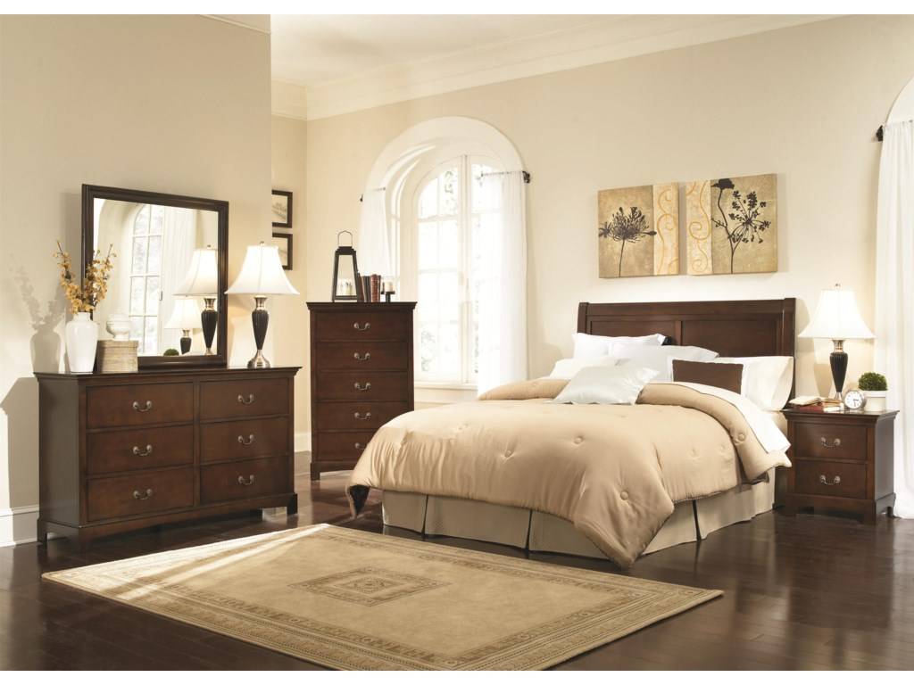 Shown with Mirror, Chest of Drawers, Headboard, and Night Stand