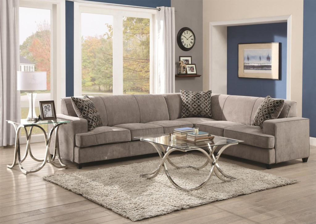 Coaster Tess 500727 Sectional Sofa For Corners Dunk Bright  ~ Sectional Sofa Table Corner