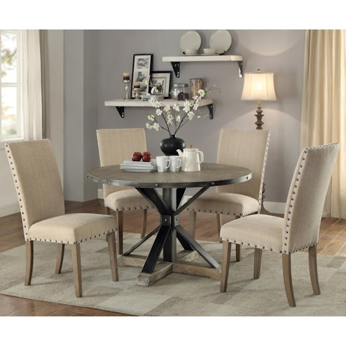Coaster Tobin Rustic Table And Chair Set With Nailhead Trim