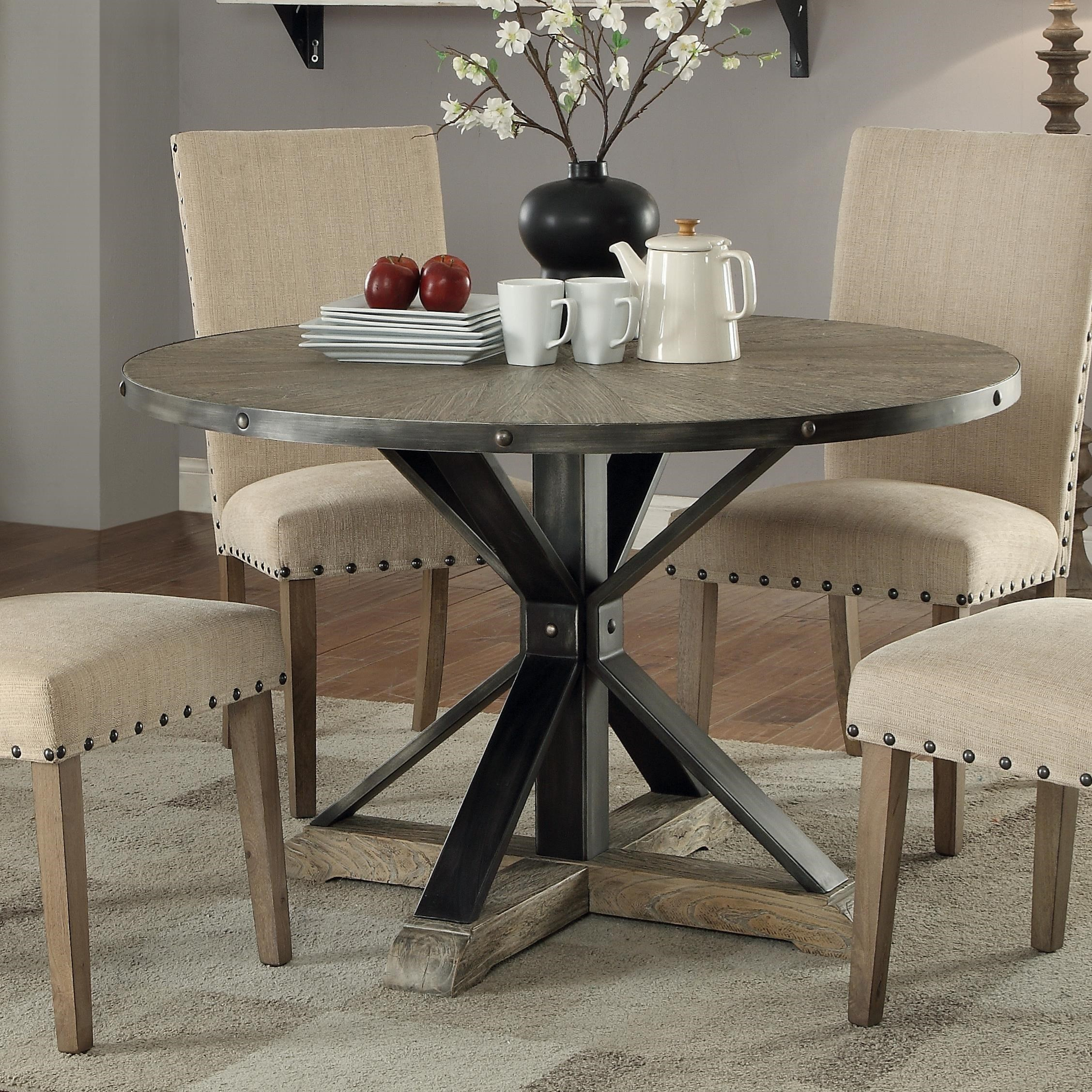 coaster tobin industrial round dining table