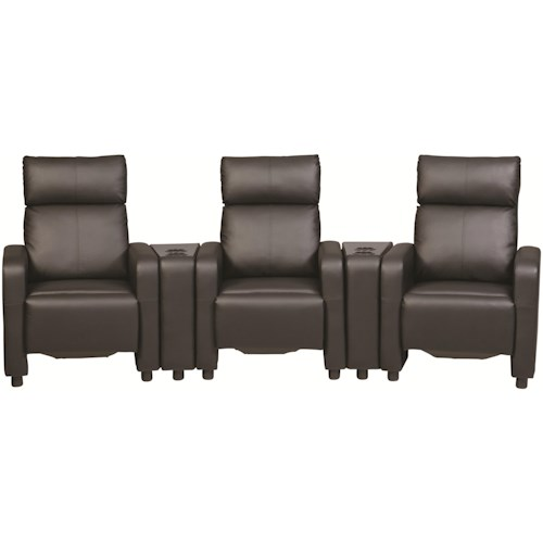 Coaster Toohey Contemporary Five Piece Reclining Home Theater Seating with Console Tables