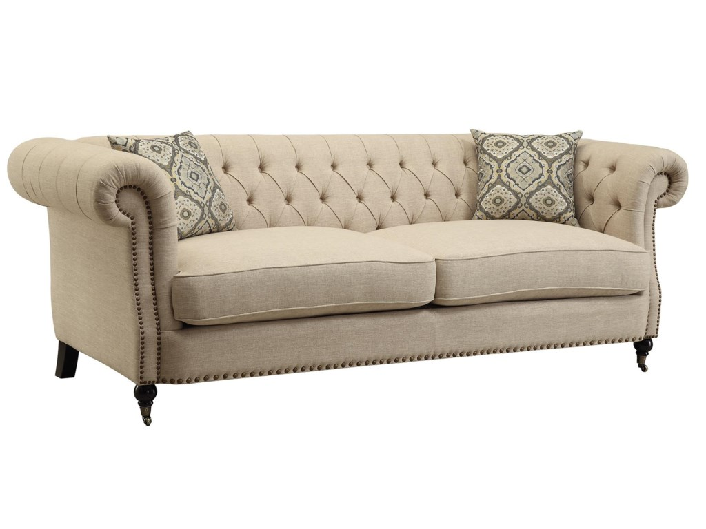 Trivellato Traditional On Tufted Sofa With Large Rolled Arms And Nailheads By Coaster