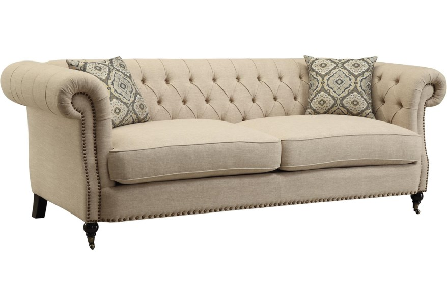 Trivellato Traditional Button Tufted Sofa with Large Rolled Arms and  Nailheads by Coaster at Dunk & Bright Furniture