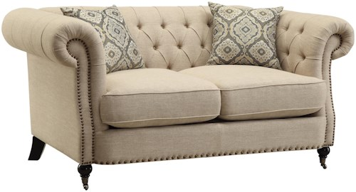 Coaster Trivellato Traditional Button Tufted Loveseat with Large Rolled Arms and Nailheads