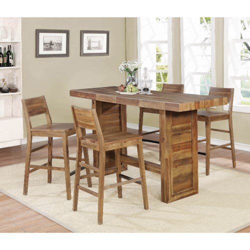 Coaster Tucson 5 Piece Bar Table and Stool Set