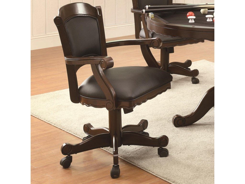 Turk Arm Game Chair with Casters and Fabric Seat and Back by Coaster at  Dream Home Interiors