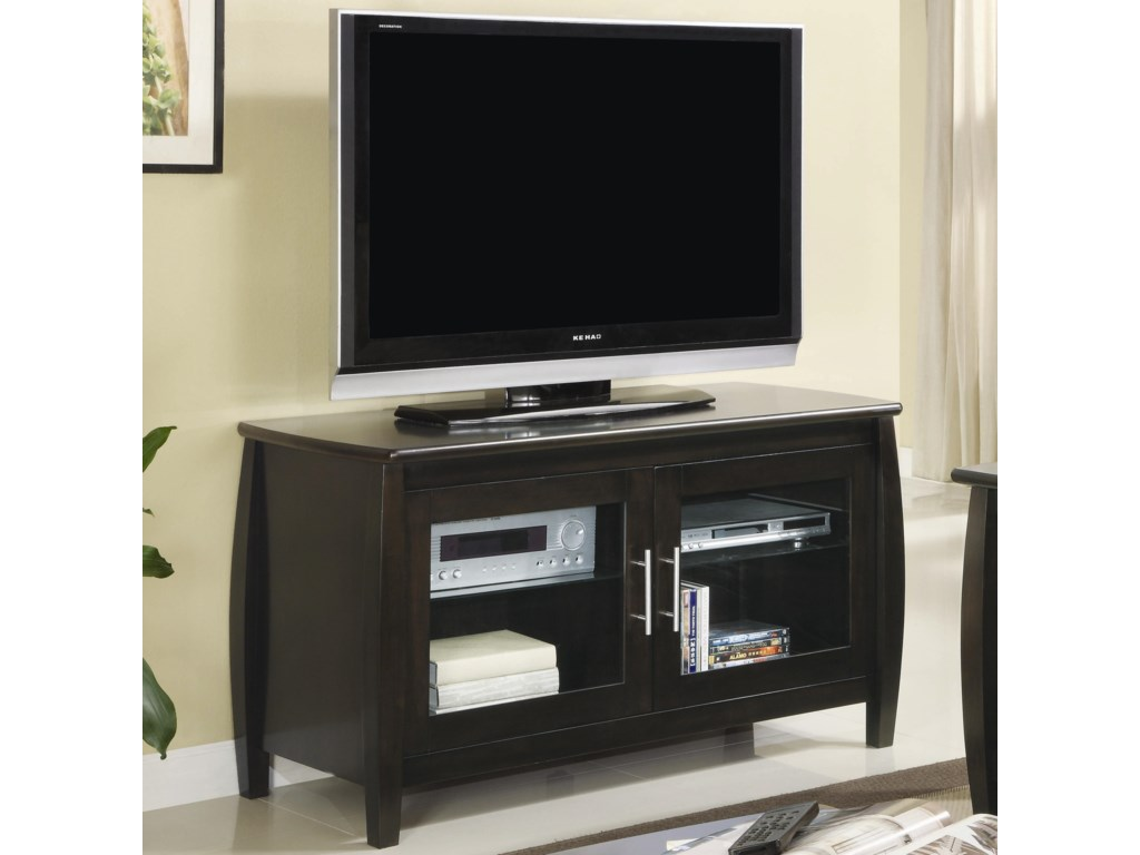Tv Stands Contemporary Media Console With Gl Doors By Coaster