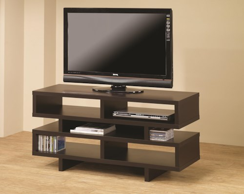 Coaster TV Stands Contemporary TV Console with Open Storage & Cappuccino Finish