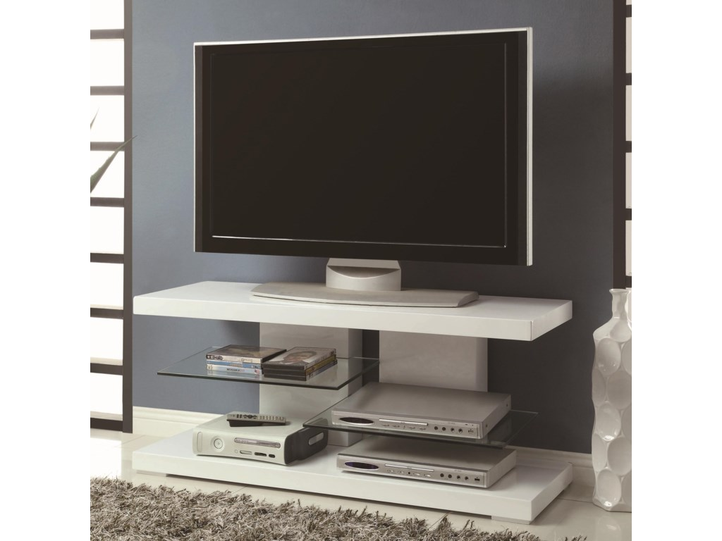 Coaster Tv Stands 700824 Modern Stand With Alternating Gl Shelves Dunk Bright Furniture