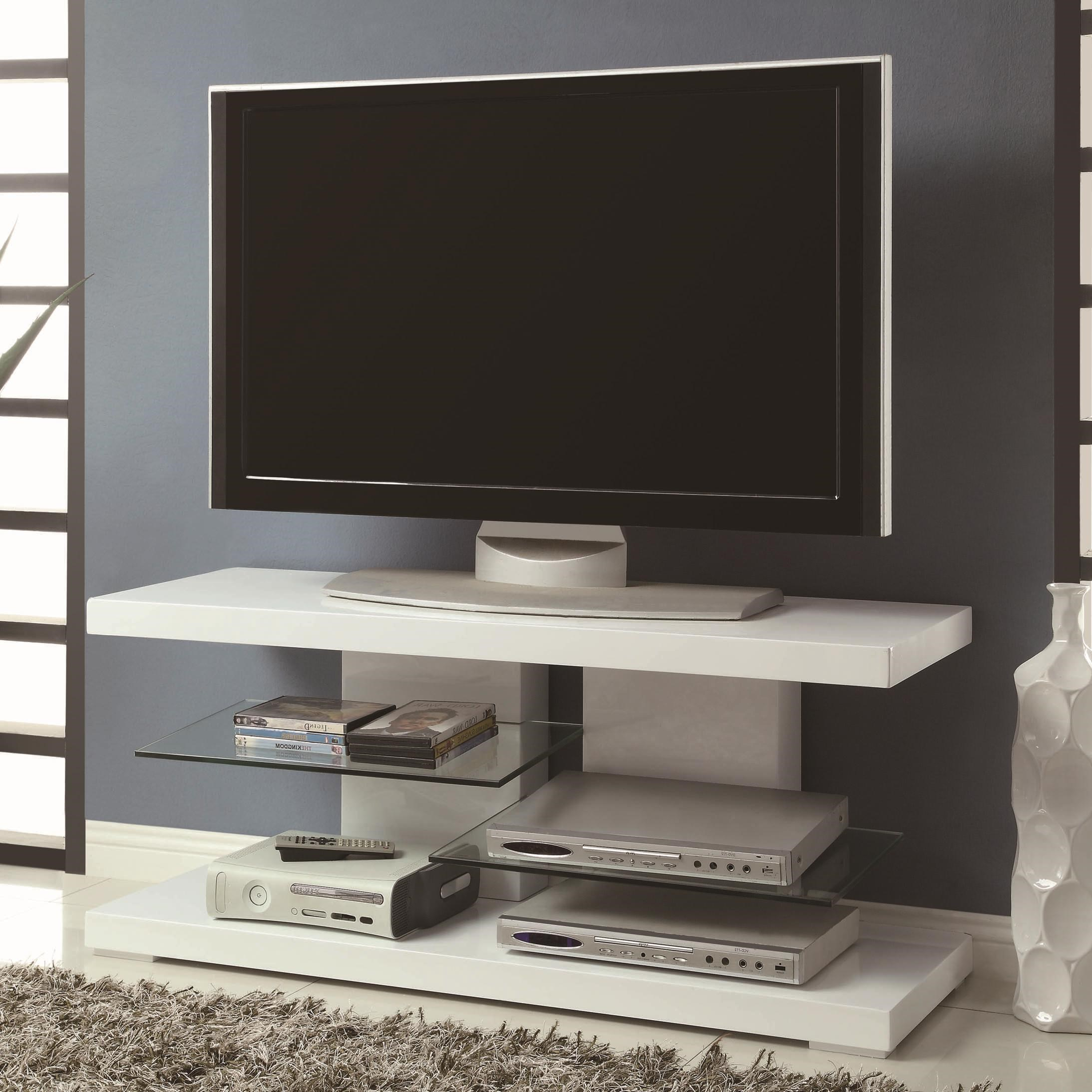 TV Stands Modern TV Stand With Alternating Glass Shelves By Coaster