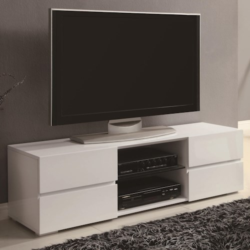 Coaster TV Stands High Gloss White TV Stand with Glass Shelf