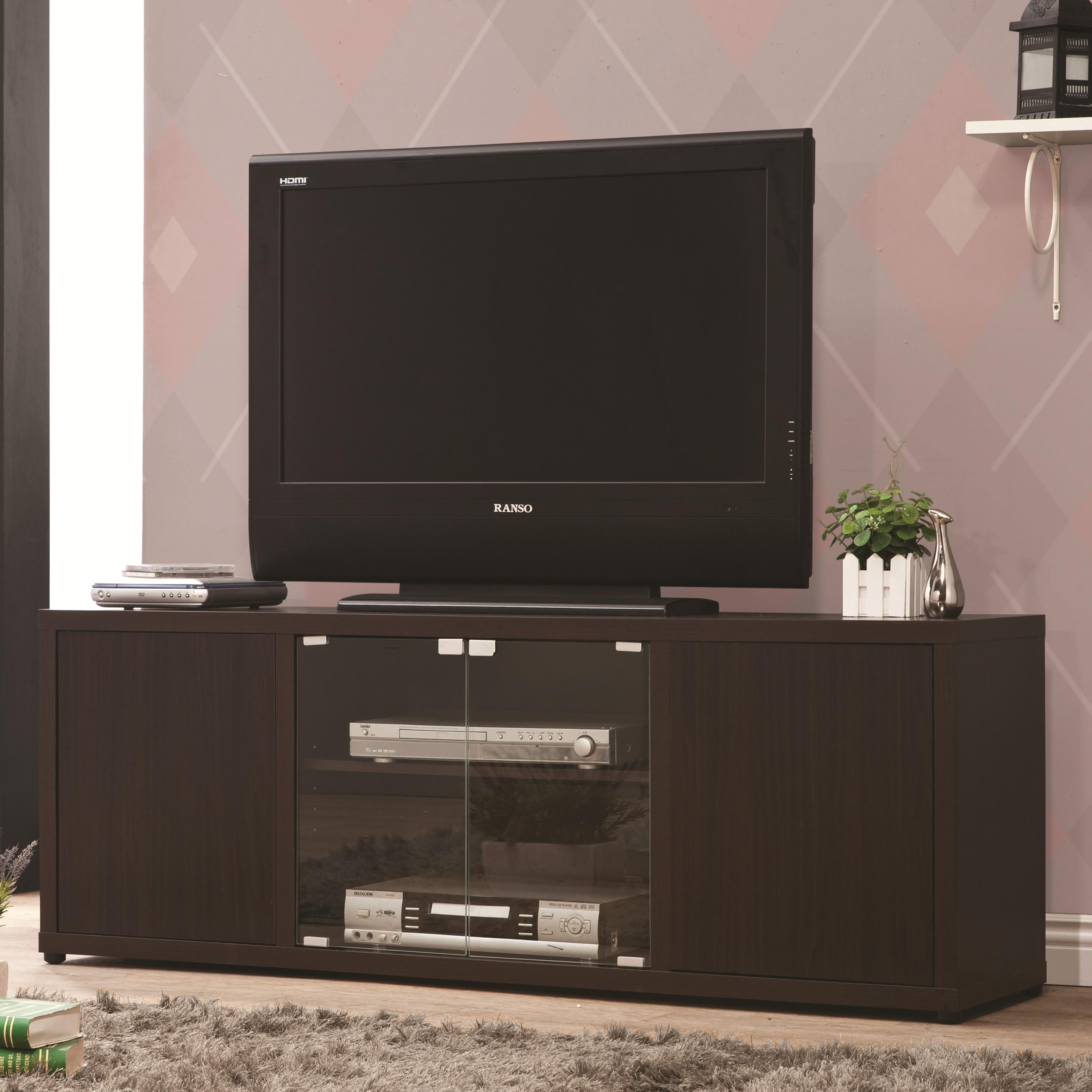 TV Console with Push-to-Open Glass Doors