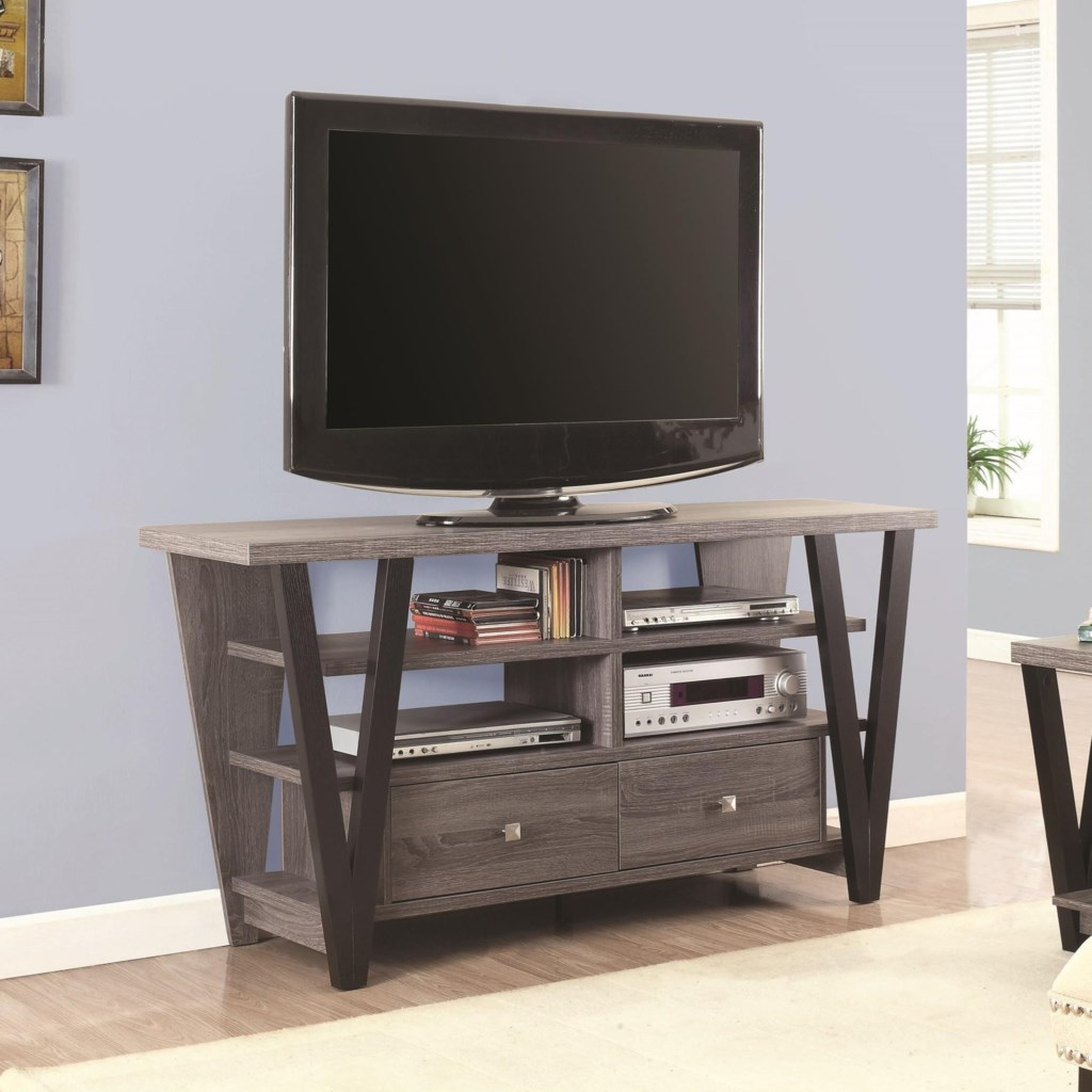Coaster Tv Stands 701015 Two Tone Trapezoid Tv Stand Dunk Bright