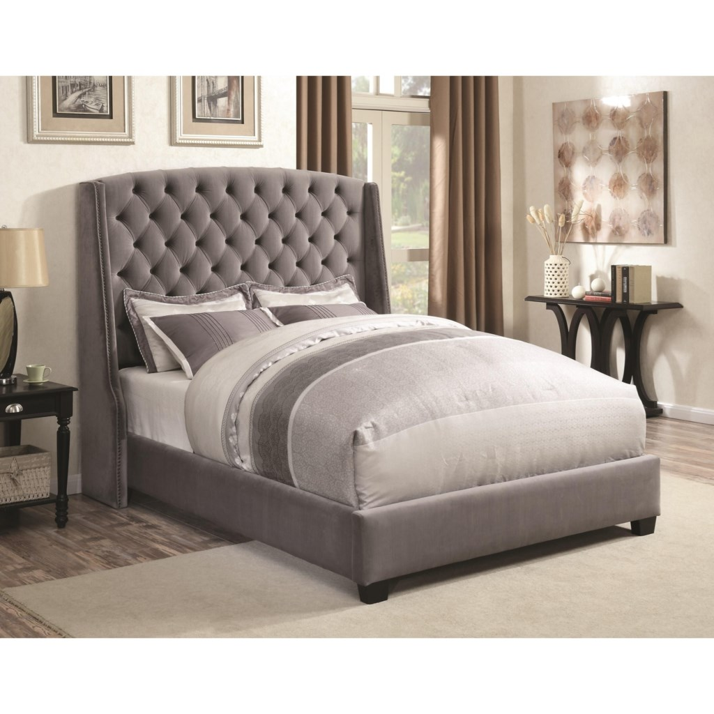 Coaster upholstered beds 300515q pissarro wingback upholstered queen bed dunk bright furniture upholstered beds
