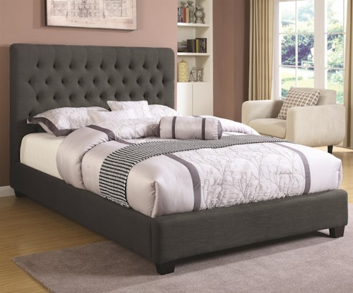 Coaster Upholstered Beds Queen Chloe Upholstered Bed with Tufted Headboard & Neutral Color Fabric