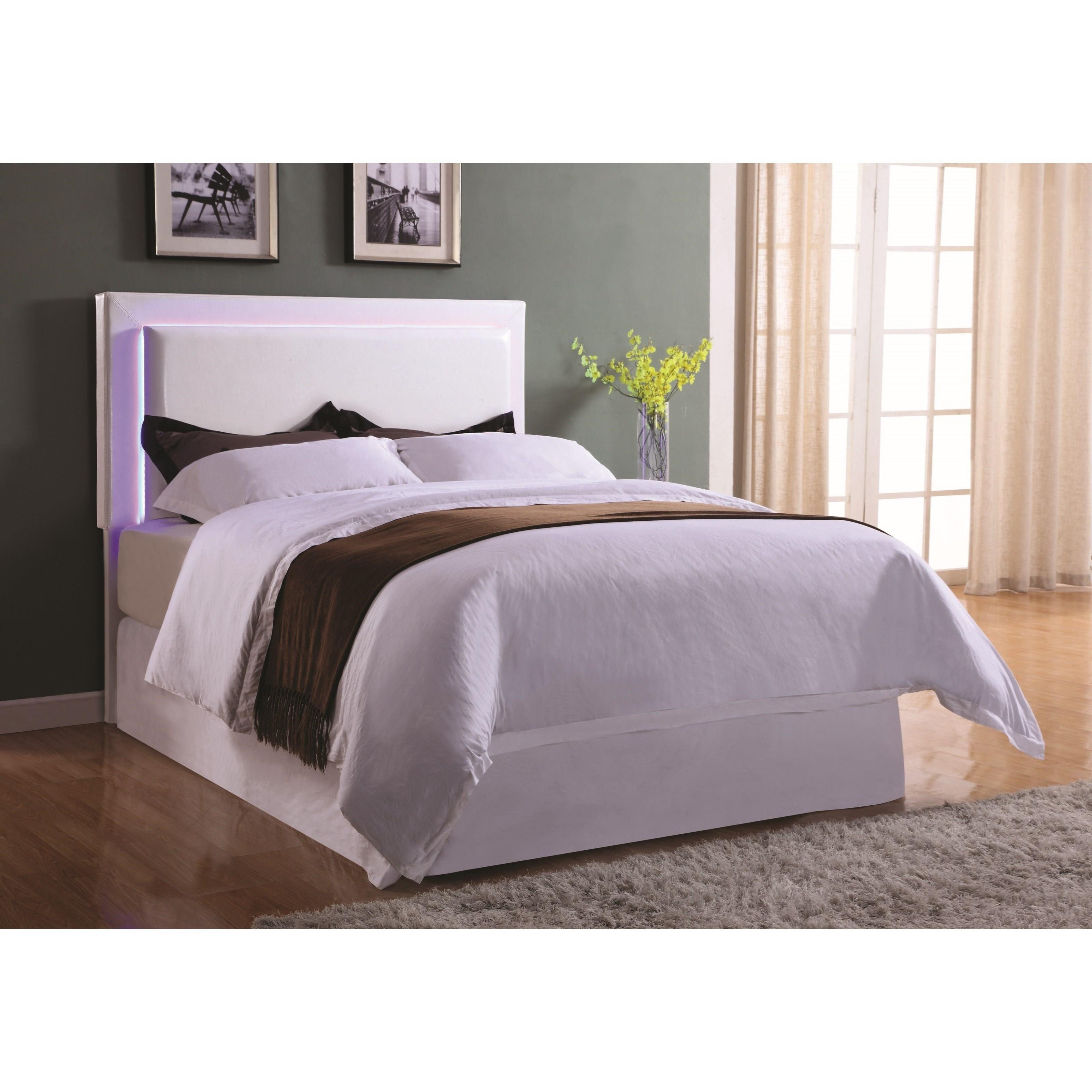 coaster upholstered beds upholstered king headboard with led lights