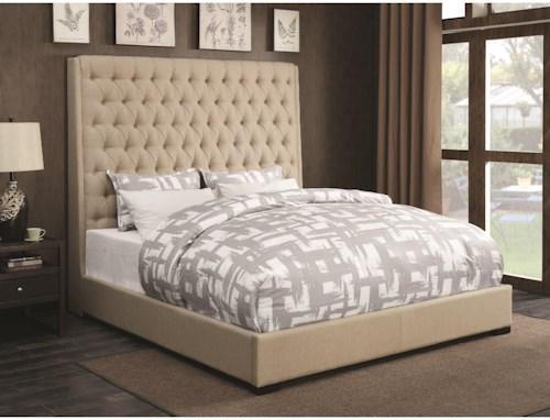 Coaster Upholstered Beds Upholstered California King Bed with Diamond Tufting