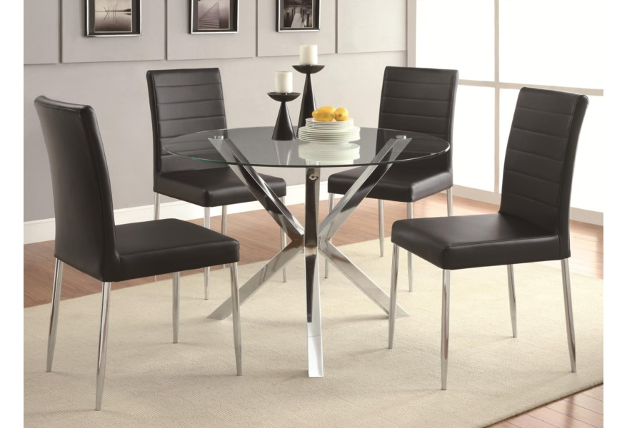 Vance 5-Piece Glass Top Table Set
