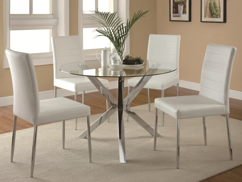Coaster Vance Contemporary 5 Piece Glass Top Table And Chair Set