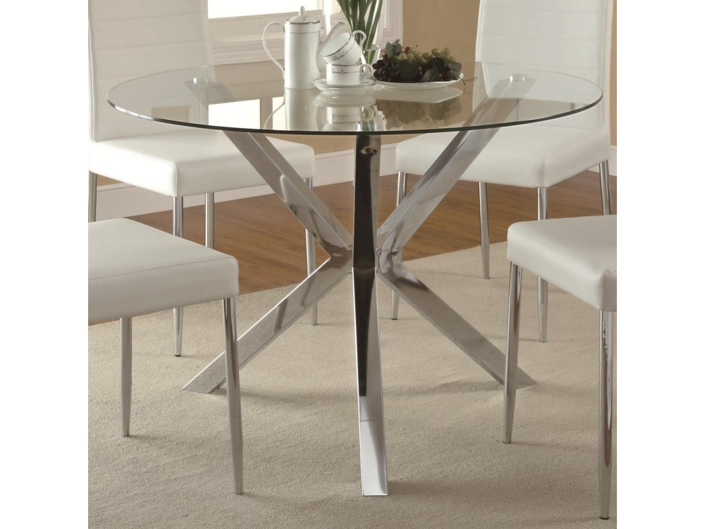 Coaster Vance Contemporary Glass Top Dining Table With Unique Chrome