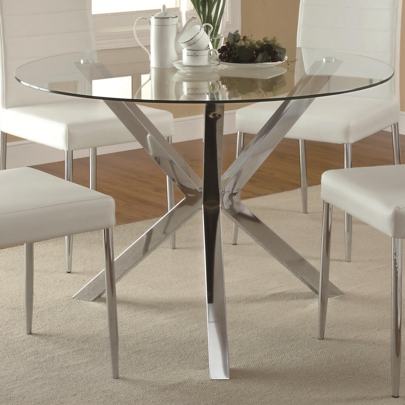 Bon Vance Contemporary Glass Top Dining Table With Unique Chrome Base By Coaster