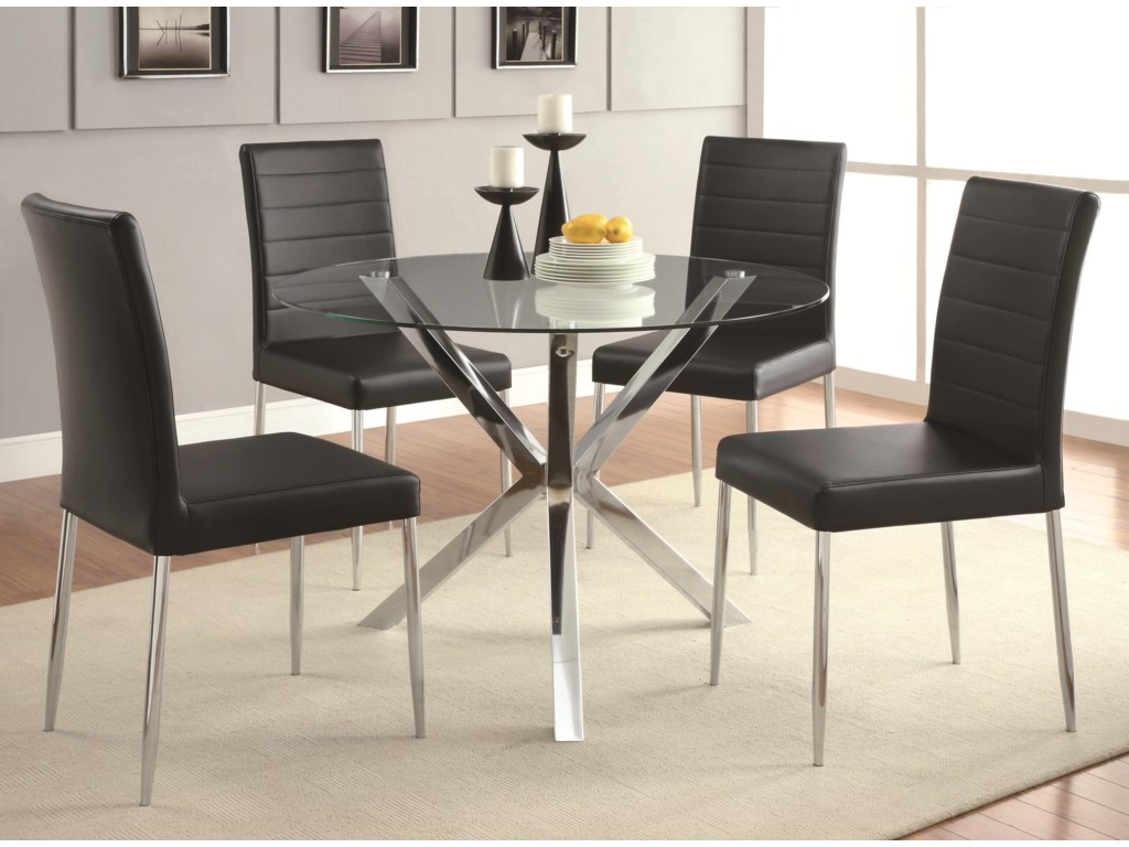 Coaster Vance Contemporary Glass-Top Dining Table with Unique ...