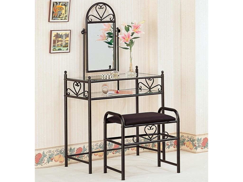 Vanities Casual Metal Vanity With Glass Top And Stool With Fabric Seat By Coaster At Dunk Bright Furniture