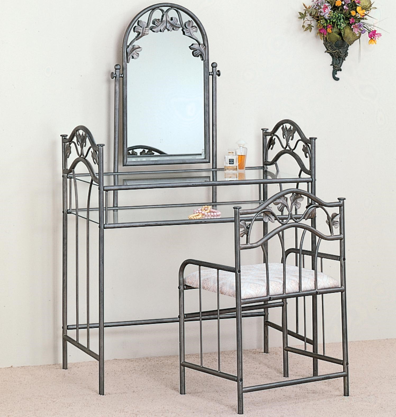 Casual Metal Vanity with Glass Top and Stool with Fabric Seat