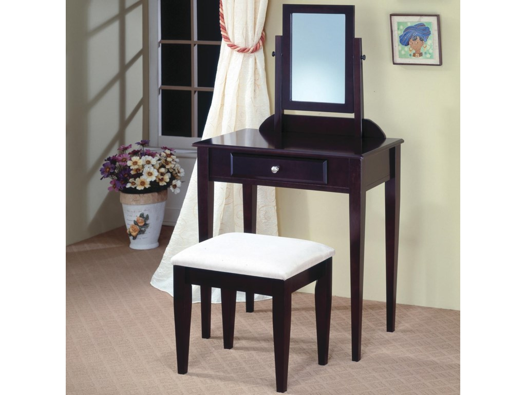 separation shoes 08549 90851 Vanities Contemporary Vanity and Stool with Fabric Seat by Coaster at Prime  Brothers Furniture