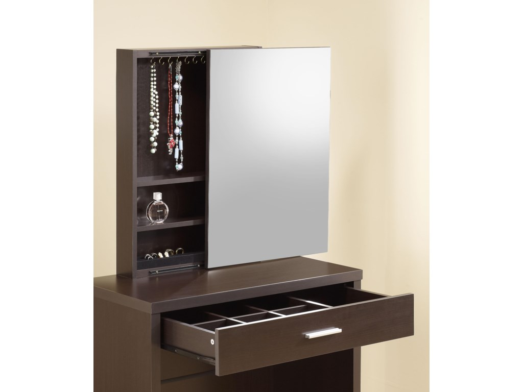 Hidden Mirror Storage and Partitioned Drawer