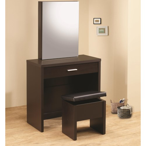 Coaster Vanities Glossy Cappuccino Vanity with Hidden Mirror Storage and Lift-Top Stool