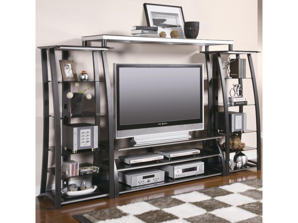 Entertainment Units Contemporary Metal and Glass Wall Unit by Coaster at  Value City Furniture