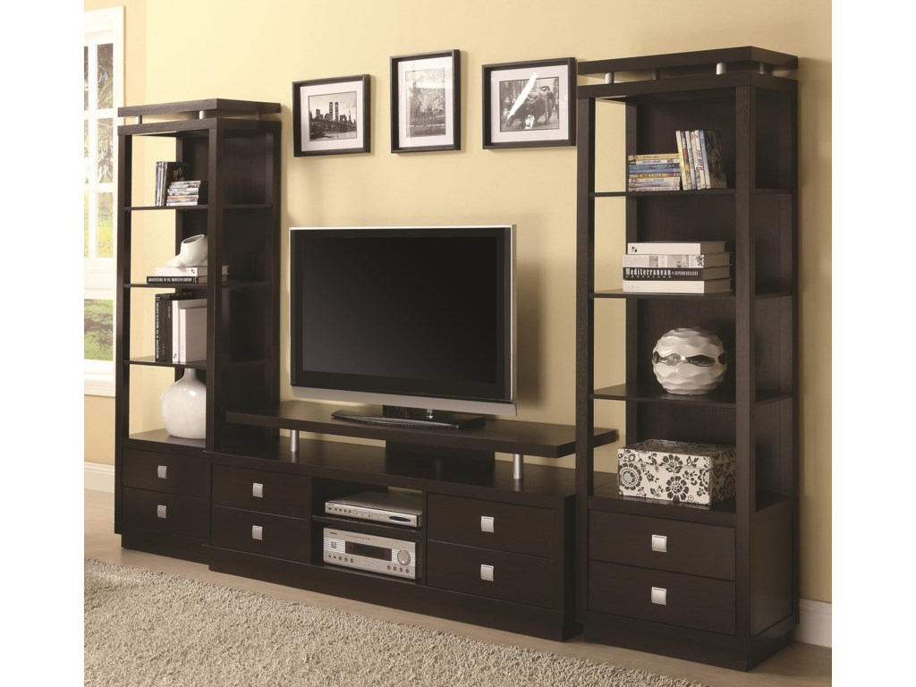 Coaster Entertainment Units TV Console & 2 Media Towers | Value City ...