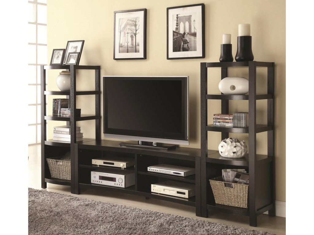 fe23bc642 Coaster Entertainment Units Curved Front TV Console   2 Media Towers ...