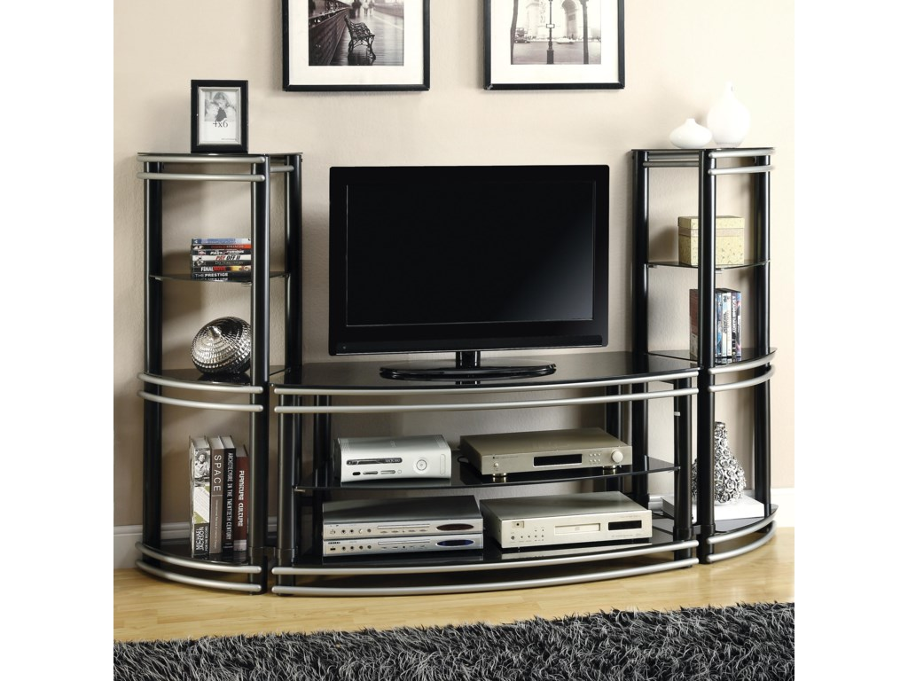Fine Furniture Entertainment Units Demilune Black Silver Finish Tv