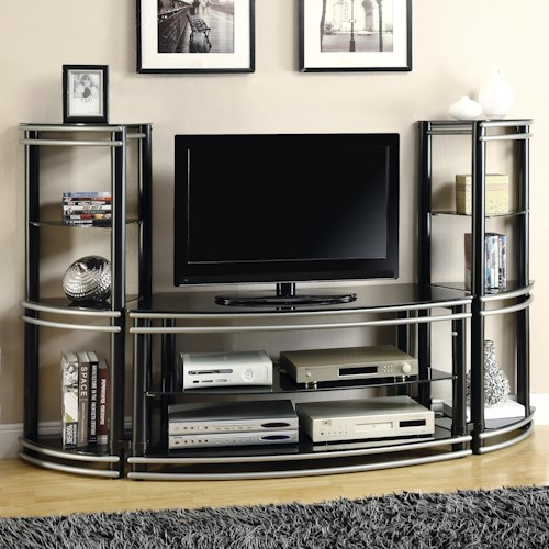 Coaster Entertainment Units Demilune Black/Silver Finish TV Stand ...