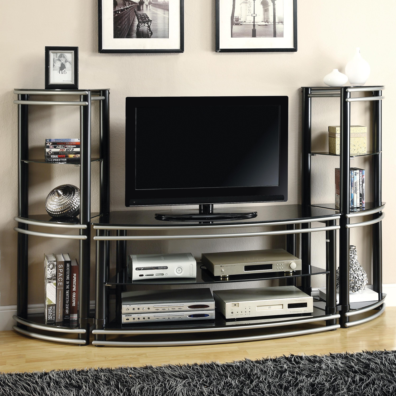 Coaster Entertainment Units Demilune Black/Silver Finish TV Stand U0026 2 Media  Towers