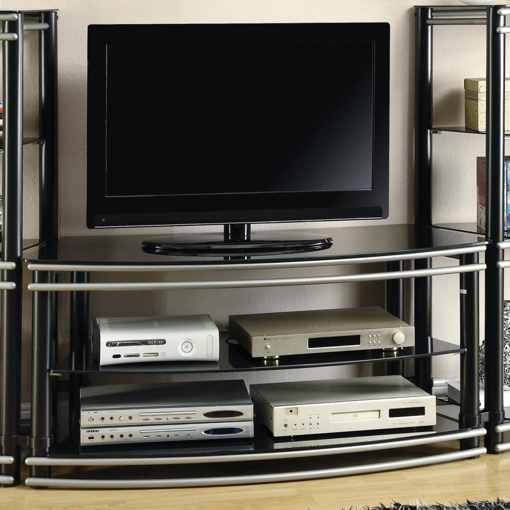 Coaster Entertainment Units Black Silver Finish Curved Tv Stand