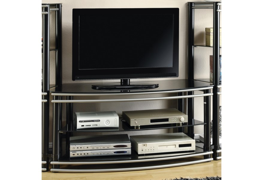 700722 Black Silver Finish Curved Tv