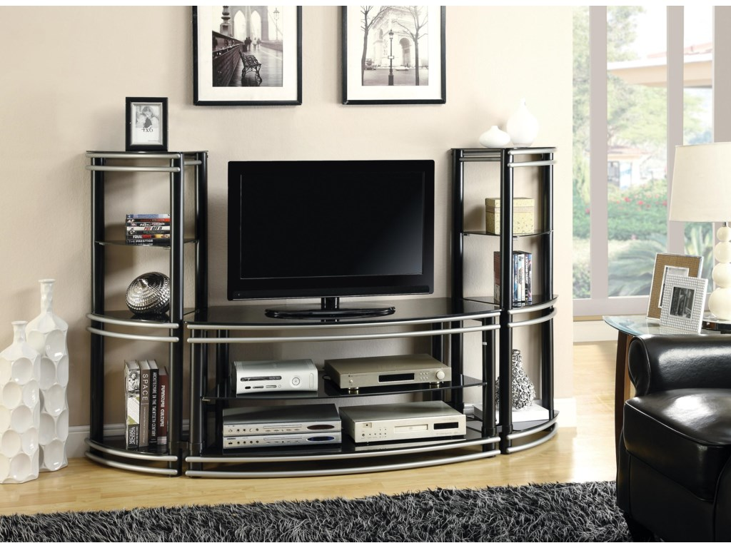 Two Media Towers Shown with TV Console
